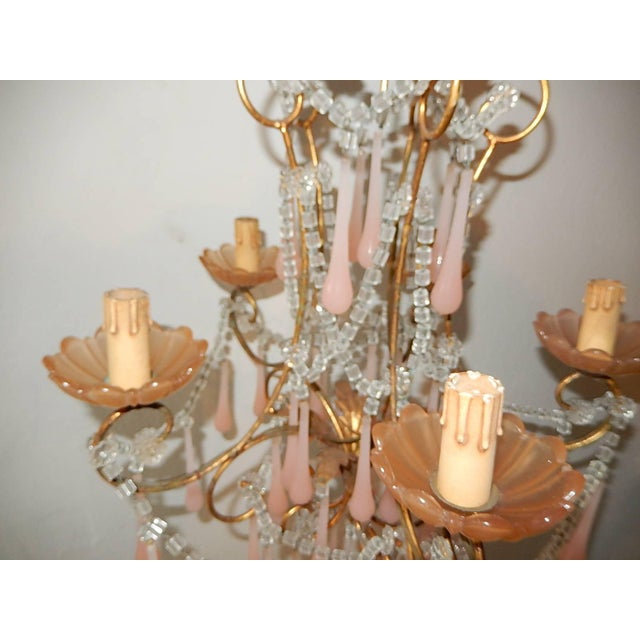French Crystal Pink Bubble Gum Opaline Drops Bobeches and Beads Chandelier For Sale - Image 9 of 10