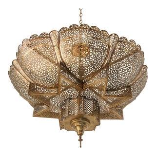 Moroccan Moorish Brass Harem Chandelier For Sale