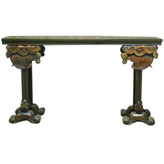 Chinese Lacquered Altar Table with Carved Lotus Blossoms For Sale