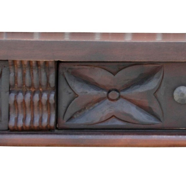 Carved Teak Spanish Colonial Console For Sale - Image 4 of 9