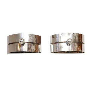 1970s Large Chrome Mid Century Modern Wall Sconce Flush Mount Lights - a Pair For Sale