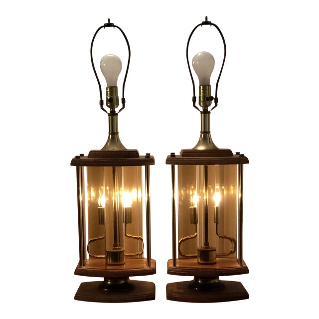 1970s Mid Century Modern Smoked Beveled Pane Wood Lamps - a Pair For Sale