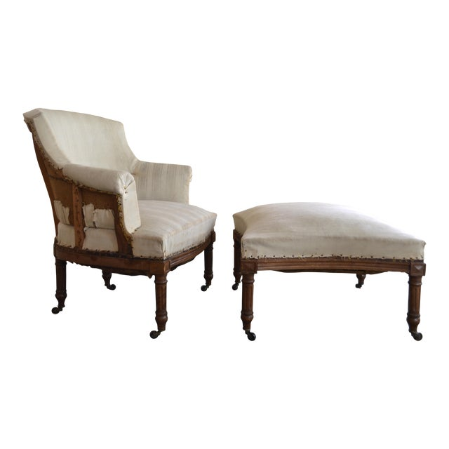 Antique French Napoleon Armchair and Ottoman - Image 1 of 10