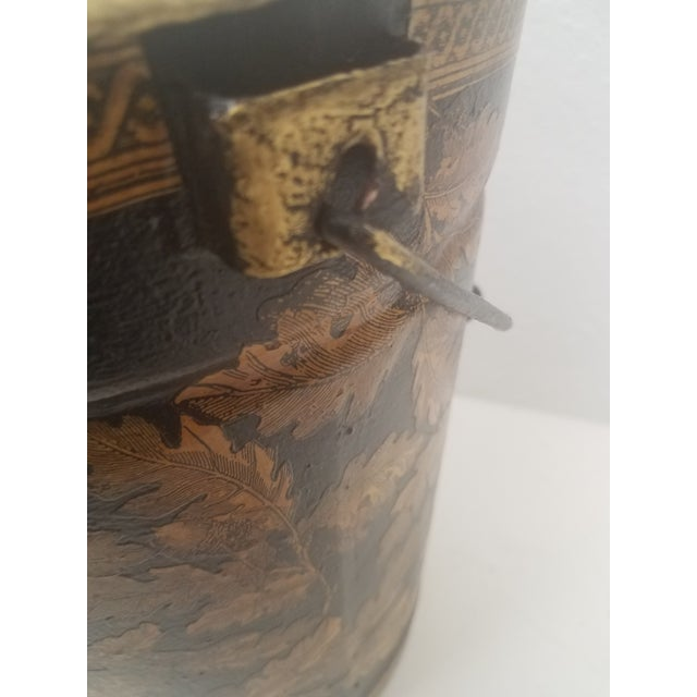 English Antique Bucket / Pail With Decoupage Leaves - Found in Southern England For Sale - Image 11 of 12