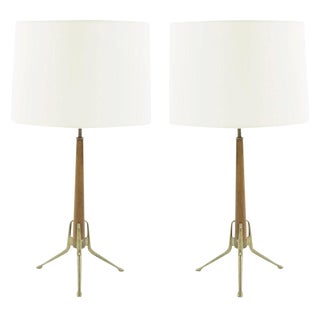 Gerald Thurston for Lightolier Brass and Walnut Table Lamps, 1950s For Sale