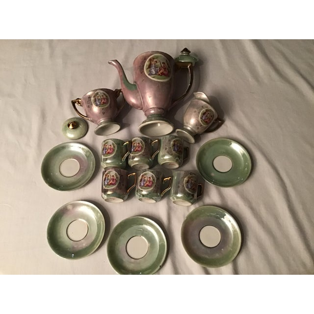 Gray Vintage Hand Painted Angelica Kauffmann Style Tea Service - Set of 14 For Sale - Image 8 of 11