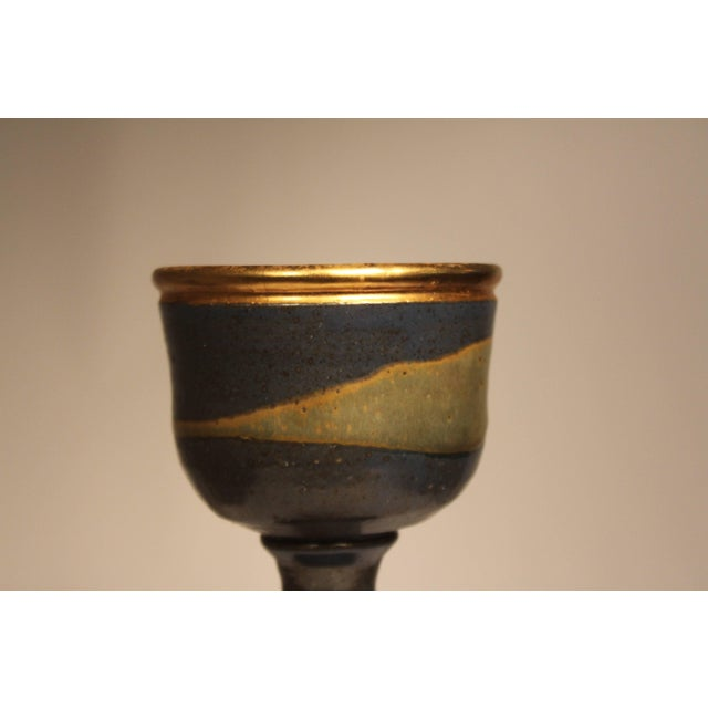 Mid-Century Modern 1960s Mid-Century Modern Master Potter Byron Temple Stoneware Chalice For Sale - Image 3 of 10