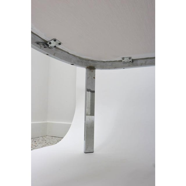 Metal D.I.A. Polished Chrome and Cream Upholstery Race-Track Form Bench For Sale - Image 7 of 7