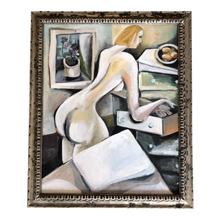 Original Stewart Ross Female Nude Interior Painting For Sale