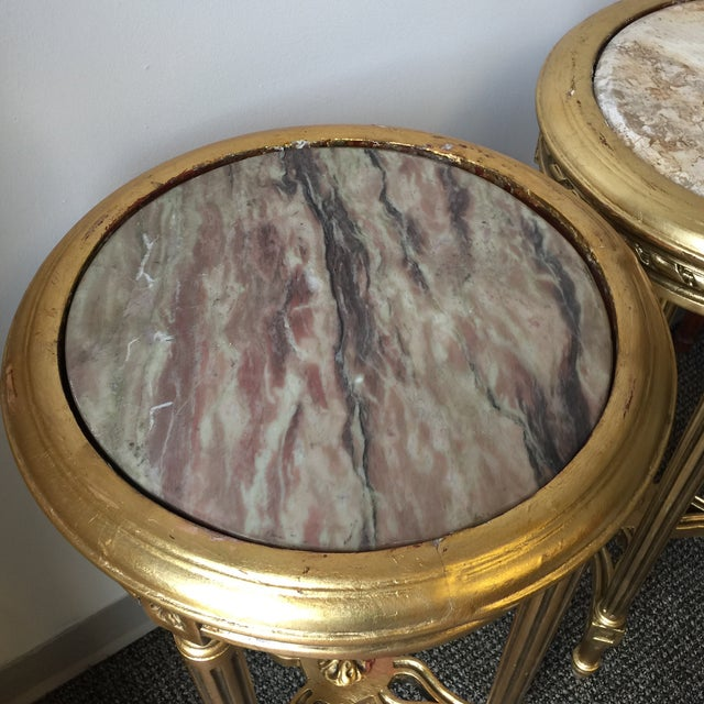 Neoclassical Style Gilt Side Tables - A Pair - Image 6 of 7
