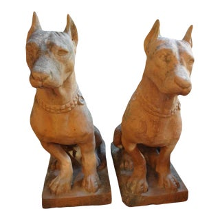 Italian Terra Cotta Dog Garden Statues-A Pair For Sale