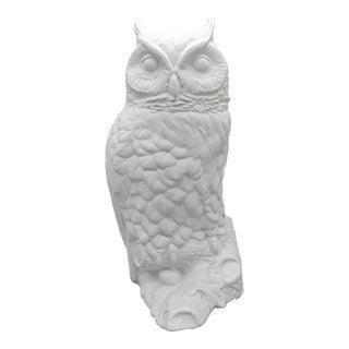 1980's Matte White Ceramic Horned Owl Figure For Sale