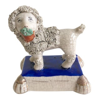 Vintage White Crackle Curly Staffordshire Style Pup