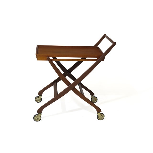 Danish Teak Folding Bar Cart For Sale - Image 4 of 8
