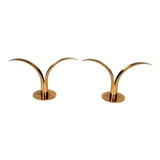 Swedish Brass Candle Holders by Lily For Sale