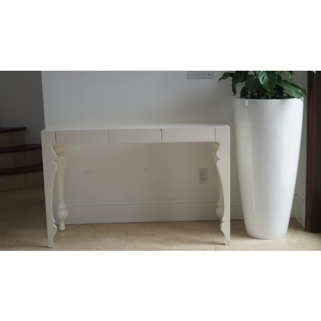 Wood Reeves Design Ivory Wood Console Table For Sale - Image 7 of 7