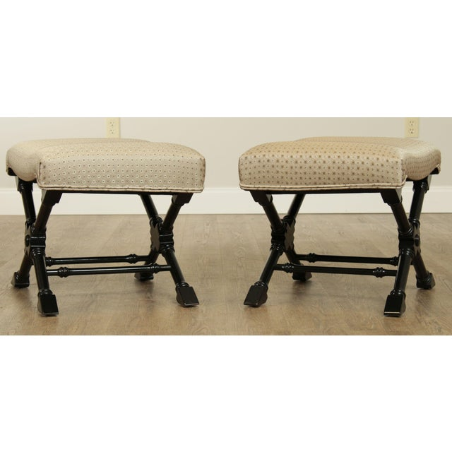 Regency Style Black Lacquered Pair X Benches For Sale In Philadelphia - Image 6 of 13