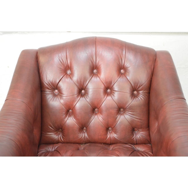 *STORE ITEM #: 17237-fwmr Chippendale Chesterfield Style Tufted Faux Leather Club Chair AGE / ORIGIN: Approx. 30 years,...