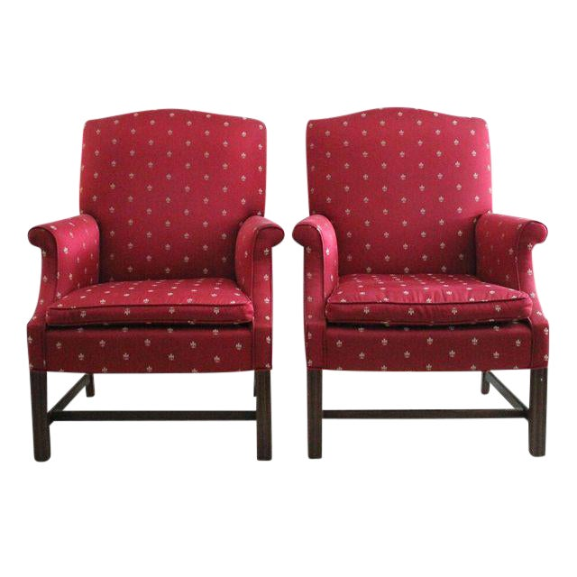 Burgundy Chippendale Wingback Chairs - A Pair For Sale