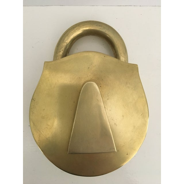 Mid-Century Virginia Metalcrafters Solid Brass Padlock Ashtray/Catchall For Sale - Image 13 of 13