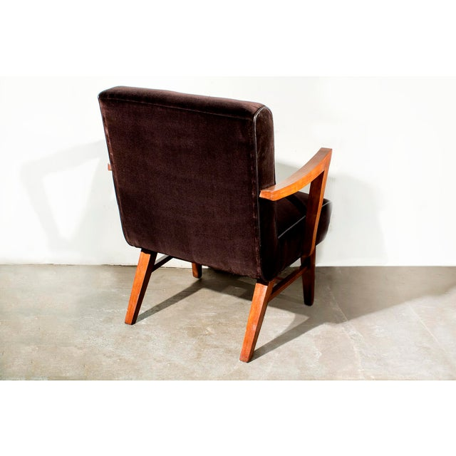 Wormley for Dunbar Style Brown Micro Velvet Armchair - Image 4 of 6