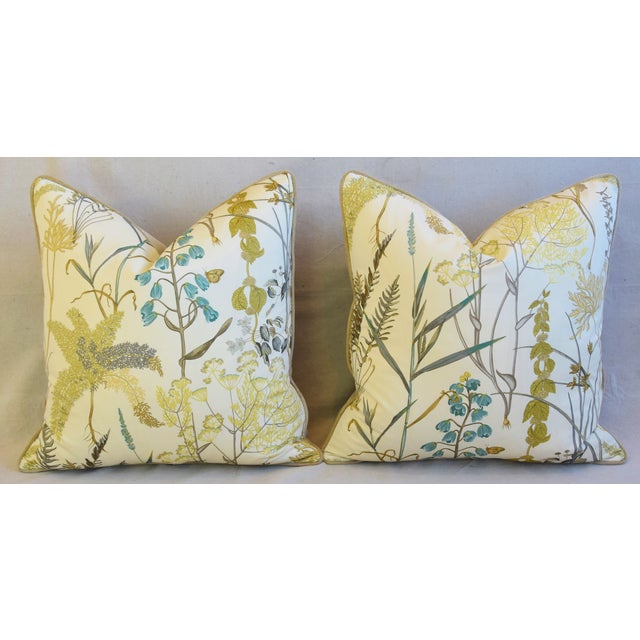 "Yellow Botanical Wildflower Floral Feather/Down Pillows 23"" Square - Pair For Sale - Image 8 of 13"
