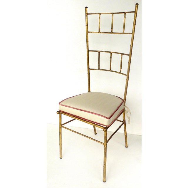1970s Vintage Bagues Style Italian Gilt Iron High-Back Chairs- A Pair For Sale - Image 9 of 12