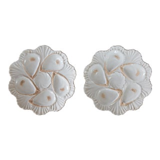 Antique French White Gilt Oyster Plates - a Pair For Sale
