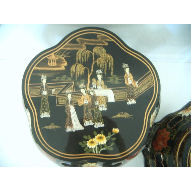 Chinese Black Lacquer Drum Side Tables or Stools - a Pair For Sale - Image 4 of 6