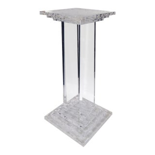 Mid-Century Modern Lucite Pedestal with Decorative Carvings