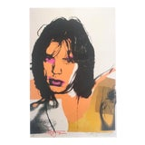"""Image of Andy Warhol Estate Rare Vintage 1989 Collector's Pop Art Lithograph Print """" Mick Jagger """" 1975 For Sale"""