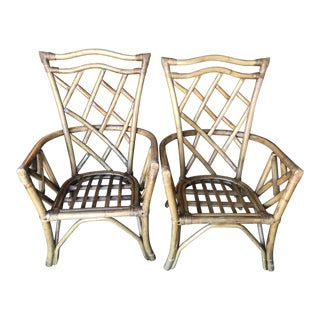 Vintage Chippendale Rattan Chairs-Pair For Sale