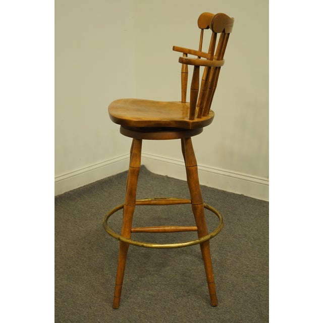 Late 20th Century S Bent Bros. Gardener Solid Maple Swivel Bar Stool For Sale In Kansas City - Image 6 of 13