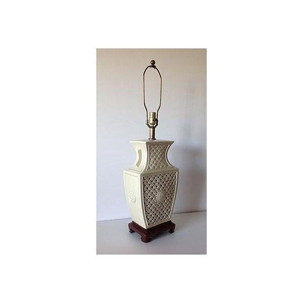 Porcelain Chinoiserie Lamp on Wood Base - Image 3 of 7