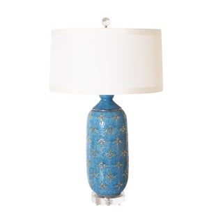 Blue Marbro Ceramic Lamp, C. 1960 With Shade For Sale