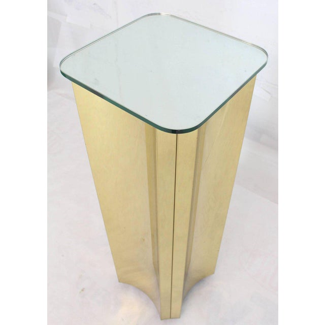 Gold Mirror Glass Top Folded Brass Square Modern Pedestal For Sale - Image 8 of 9