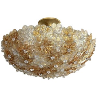 Murano Barovier Glass Floral Semi Flush Mount Ceiling Pendant Light