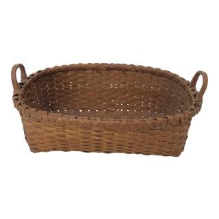 Fine Antique Country American Hand Woven Ash Splint Basket For Sale