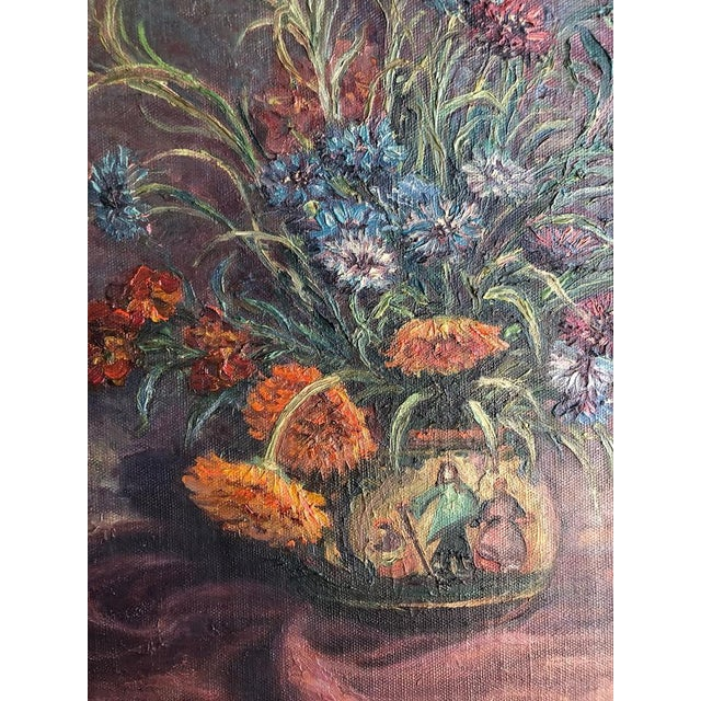 Paint 1920s Vintage Edyth Glover Ellsworth Still Life With Flowers and Blue Vase Painting For Sale - Image 7 of 11