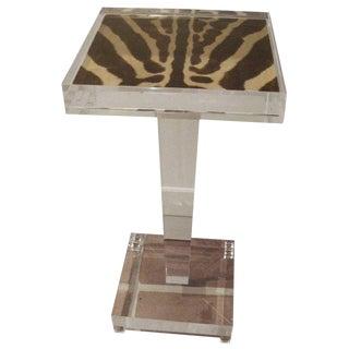 Zebra Skin Lucite Table For Sale