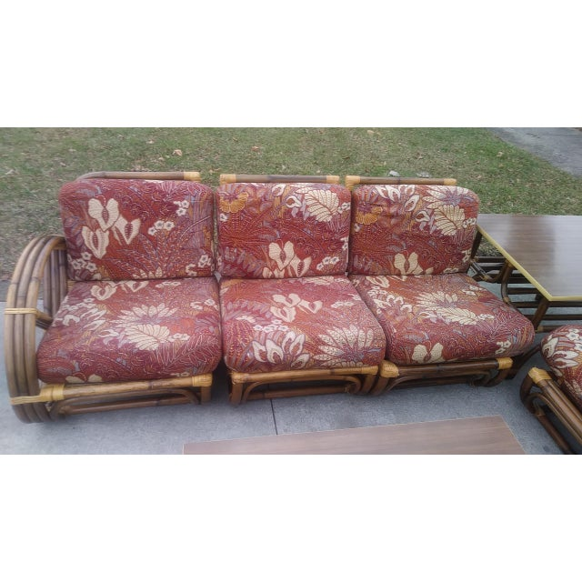 Bamboo Vintage Mid Century Paul Frankl Style Pretzel Arm Rattan Bamboo Sofa - Set of 5 For Sale - Image 7 of 13