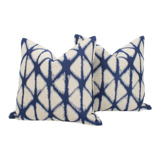 Custom Batik Blue and Ivory Pillows, a Pair For Sale