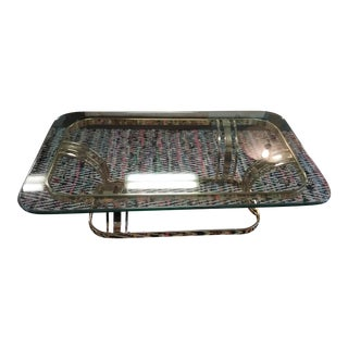 1990s Milo Baughman Style Brass Glass Coffee Table For Sale