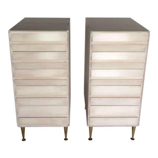 A Pair of Unusual Five Drawer Chests in Birch