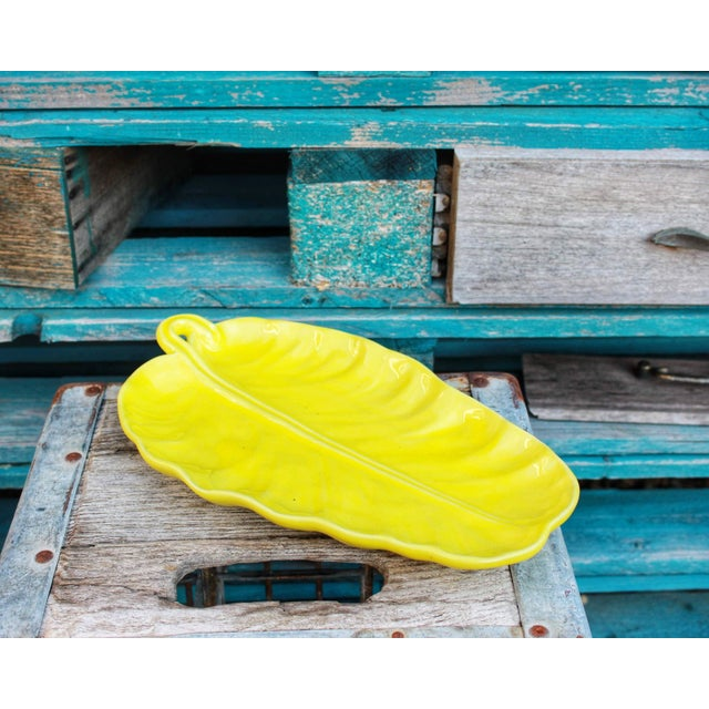 Vintage Yellow Leaf Shaped Olfaire Pottery Platter For Sale In Boston - Image 6 of 8