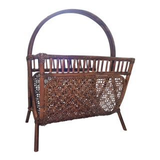 Woven Wicker and Rattan Magazine Rack