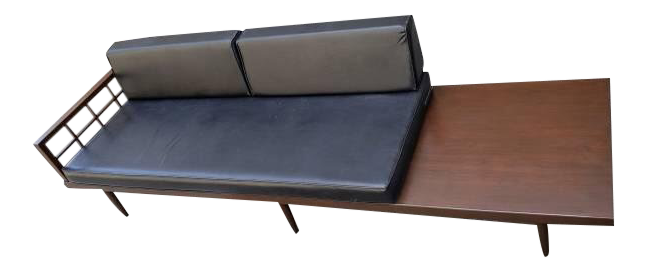 Mid Century Black Leather Daybed Sofa And Table Chairish
