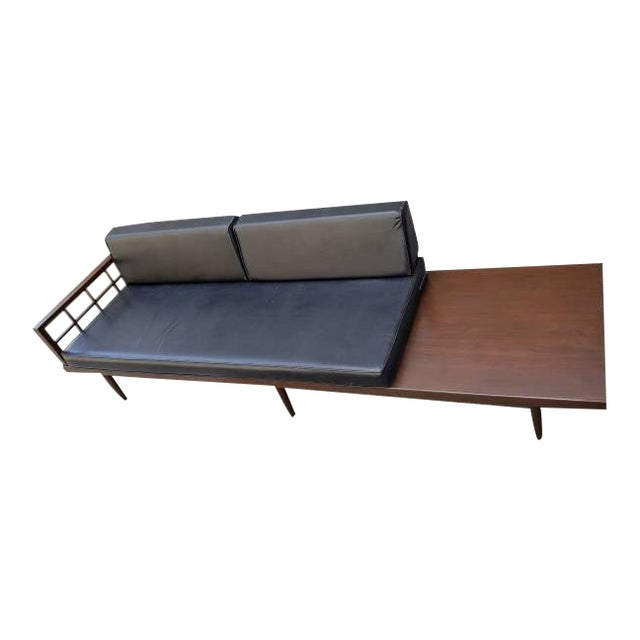 Mid-Century Black Leather Daybed Sofa and Table
