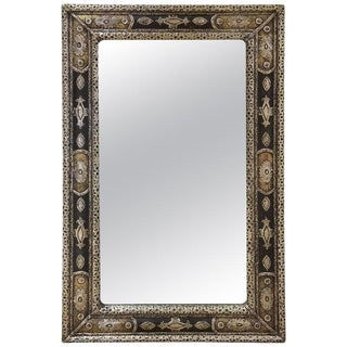 Moroccan Rectangular Metal Inlaid Mirror For Sale