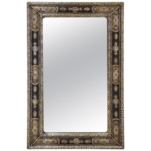 Moroccan Rectangular Metal Inlaid Mirror For Sale